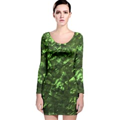 Bright Jade Green Jewelry Mother of Pearl Long Sleeve Velvet Bodycon Dress