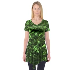 Bright Jade Green Jewelry Mother of Pearl Short Sleeve Tunic
