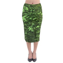 Bright Jade Green Jewelry Mother of Pearl Midi Pencil Skirt
