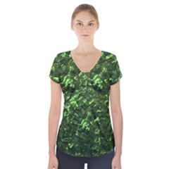 Bright Jade Green Jewelry Mother of Pearl Short Sleeve Front Detail Top
