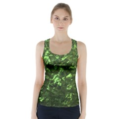 Bright Jade Green Jewelry Mother of Pearl Racer Back Sports Top