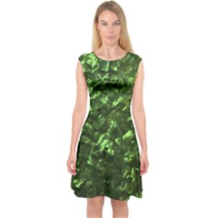 Bright Jade Green Jewelry Mother of Pearl Capsleeve Midi Dress