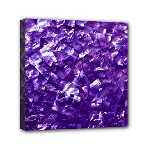 Natural Shimmering Purple Amethyst Mother of Pearl Nacre Mini Canvas 6  x 6