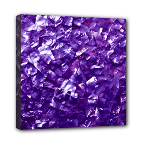 Natural Shimmering Purple Amethyst Mother of Pearl Nacre Mini Canvas 8  x 8