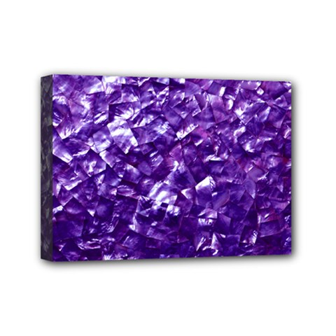 Natural Shimmering Purple Amethyst Mother of Pearl Nacre Mini Canvas 7  x 5