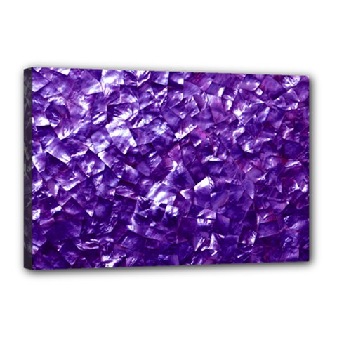 Natural Shimmering Purple Amethyst Mother of Pearl Nacre Canvas 18  x 12