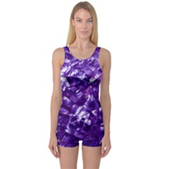 Natural Shimmering Purple Amethyst Mother of Pearl Nacre One Piece Boyleg Swimsuit