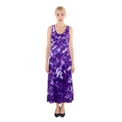 Natural Shimmering Purple Amethyst Mother of Pearl Nacre Sleeveless Maxi Dress