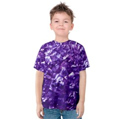 Natural Shimmering Purple Amethyst Mother of Pearl Nacre Kids  Cotton Tee