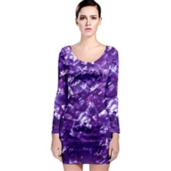 Natural Shimmering Purple Amethyst Mother of Pearl Nacre Long Sleeve Bodycon Dress
