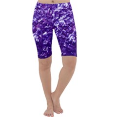 Natural Shimmering Purple Amethyst Mother of Pearl Nacre Cropped Leggings