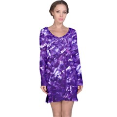 Natural Shimmering Purple Amethyst Mother Of Pearl Nacre Long Sleeve Nightdress
