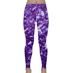 Natural Shimmering Purple Amethyst Mother of Pearl Nacre Classic Yoga Leggings