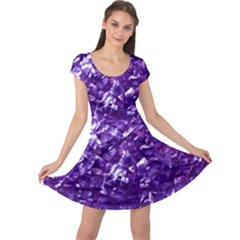 Natural Shimmering Purple Amethyst Mother of Pearl Nacre Cap Sleeve Dresses