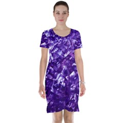 Natural Shimmering Purple Amethyst Mother of Pearl Nacre Short Sleeve Nightdress