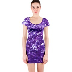 Natural Shimmering Purple Amethyst Mother of Pearl Nacre Short Sleeve Bodycon Dress