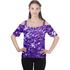 Natural Shimmering Purple Amethyst Mother of Pearl Nacre Women s Cutout Shoulder Tee