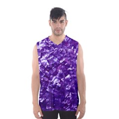 Natural Shimmering Purple Amethyst Mother of Pearl Nacre Men s Basketball Tank Top