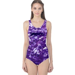 Natural Shimmering Purple Amethyst Mother of Pearl Nacre One Piece Swimsuit