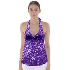 Natural Shimmering Purple Amethyst Mother of Pearl Nacre Babydoll Tankini Top