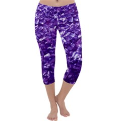 Natural Shimmering Purple Amethyst Mother of Pearl Nacre Capri Yoga Leggings