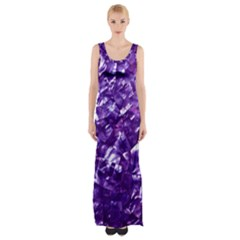 Natural Shimmering Purple Amethyst Mother of Pearl Nacre Maxi Thigh Split Dress