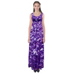 Natural Shimmering Purple Amethyst Mother of Pearl Nacre Empire Waist Maxi Dress