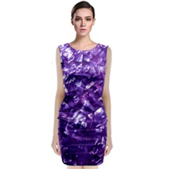 Natural Shimmering Purple Amethyst Mother of Pearl Nacre Classic Sleeveless Midi Dress