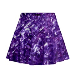 Natural Shimmering Purple Amethyst Mother of Pearl Nacre Mini Flare Skirt