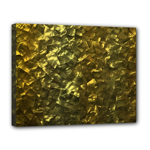 Bright Gold Mother of Pearl Nacre Pattern Canvas 14  x 11