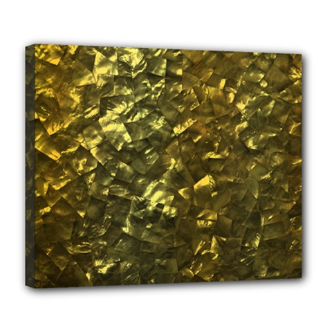 Bright Gold Mother of Pearl Nacre Pattern Deluxe Canvas 24  x 20
