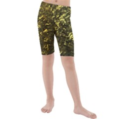 Bright Gold Mother of Pearl Nacre Pattern Kids  Mid Length Swim Shorts