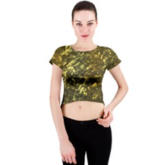 Bright Gold Mother of Pearl Nacre Pattern Crew Neck Crop Top