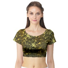 Bright Gold Mother of Pearl Nacre Pattern Short Sleeve Crop Top (Tight Fit)