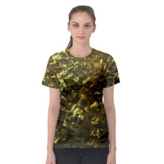 Bright Gold Mother of Pearl Nacre Pattern Women s Sport Mesh Tee
