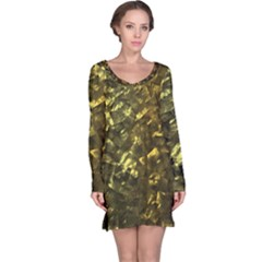 Bright Gold Mother of Pearl Nacre Pattern Long Sleeve Nightdress