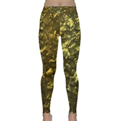 Bright Gold Mother of Pearl Nacre Pattern Classic Yoga Leggings
