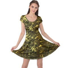 Bright Gold Mother of Pearl Nacre Pattern Cap Sleeve Dresses