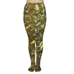 Bright Gold Mother of Pearl Nacre Pattern Women s Tights