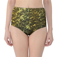 Bright Gold Mother of Pearl Nacre Pattern High-Waist Bikini Bottoms