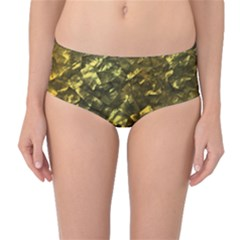 Bright Gold Mother of Pearl Nacre Pattern Mid-Waist Bikini Bottoms