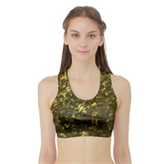 Bright Gold Mother of Pearl Nacre Pattern Sports Bra with Border