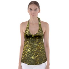 Bright Gold Mother of Pearl Nacre Pattern Babydoll Tankini Top