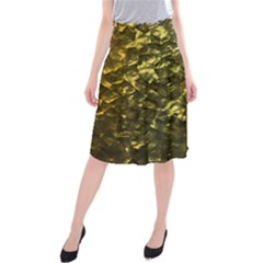 Bright Gold Mother of Pearl Nacre Pattern Midi Beach Skirt