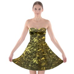 Bright Gold Mother of Pearl Nacre Pattern Strapless Bra Top Dress