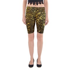 Bright Gold Mother of Pearl Nacre Pattern Yoga Cropped Leggings