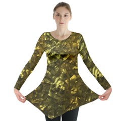 Bright Gold Mother of Pearl Nacre Pattern Long Sleeve Tunic
