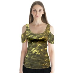 Bright Gold Mother of Pearl Nacre Pattern Butterfly Sleeve Cutout Tee