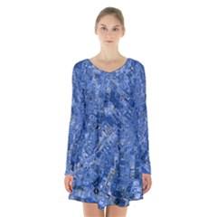 Melting Swirl C Long Sleeve Velvet V-neck Dress