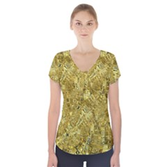 Melting Swirl F Short Sleeve Front Detail Top